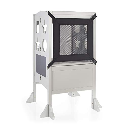 Guidecraft Classic Kitchen Helper Stool - Gray W/Keeper and Non-Slip Mat: Foldable, Adjustable Height, Wooden Baking Stool for Children; Safe Cooking Tower Step Up; Little Kids Learning Furniture