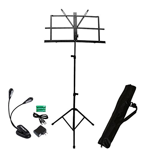 ChromaCast Folding Sheet Music Stand with Carry Bag & Dual Light with Power Adapter (CC-MSTAND-KIT-2)