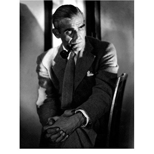 Boris Karloff seated smoking pipe 8 x 10 Inch Photo