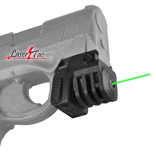 LaserTac TM-G Rechargeable Green Laser Sight for Subcompact Pistols & Compact Handguns - Fits Walther, Ruger, Beretta and More -