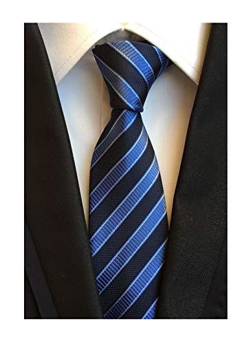 Secdtie Men's Striped Navy Blue Jacquard Woven Silk Tie Formal Necktie TW02