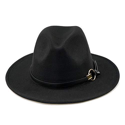 Women Black Fedora Hat Gold Stylish Belt Buckle Wool Felt Floppy Panama Hat 43bf81595b11