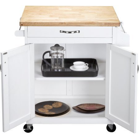 Kitchen Cart Rolling Island Storage Unit Cabinet Utility Portable Home Microwave Wheels Butcher Wood Top Drawer Shelf (White) by Mainstay (Image #2)