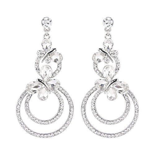 EVER FAITH Austrian Crystal Party Butterfly Drop Circle Chandelier Earrings Clear ()