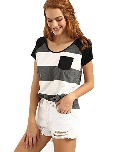 Baseball Sleeve Tee Hem Short (Milumia Women's Short Sleeve Striped Curved Hem Basic Tee Shirt Multicolor Small)