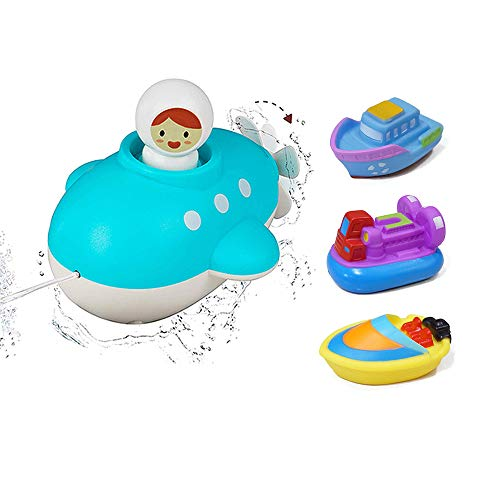 AtoBaby QHGC Bath Toys, Clockwork Toy Submarines Can Swim Spray in The Water.Toy Ideal Gift for Toddlers, Children's Toy Boat Hovercraft, Square Top Boat and Speedboat Set(4 Pieces )