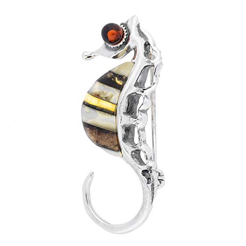 Baltic Amber Sterling Silver 925 Jewellery Brooch-PIN SEA Horse, KAB-165