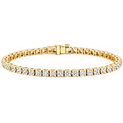 14k Yellow Gold Round Cut Diamond Tennis Link Bracelet 4-Prong (15 cttw, G-H Color, VS2-SI1 Clarity)