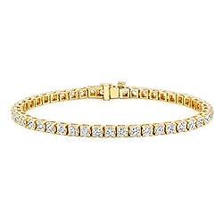 Gold Round Cut Diamond Tennis Link Bracelets