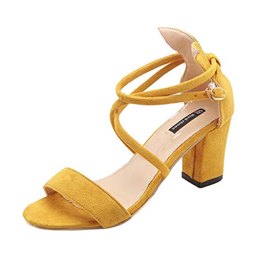 (SSYUNO Low Heel Sandals for Women Summer Elegant Crystal Lace Up Strappy Open Toe Block Heel Dress Sandals Yellow)