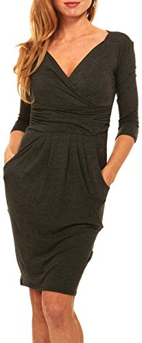 Womens Basic V-Neck Sleeve Dress - 3/4 Sleeve Wrap Pencil Dress With Pockets (Extra Large, Charcoal Grey) -