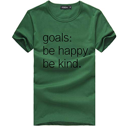 HHei_K Women Printed Letters T-Shirts Goals: to Be Happy. Be Kind. Short Sleeve Crewneck Blouse Summer Loose Tops Army Green by HHei_K (Image #4)