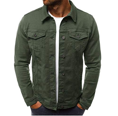 (Men Fashion Button Down Trucker Vintage Denim Jacket Autumn Winter Coat (Army Green, Medium(US S)) )