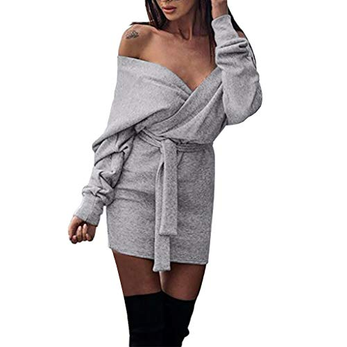 Sunhusing Spring Autumn Women Casual Off-Shoulder Long Sleeve Slim Fit High Waist Hip Fashion Dress with Belt
