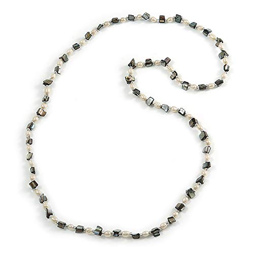 Avalaya Long Sea Shell Nugget and Faux Pearl Bead Necklace 110cm L Grey//Cream