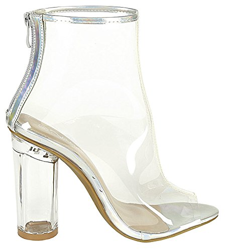 8df9922dcf9 Forever Clear-24 Clear Translucent Transparent Lace Up Peep Toe ...