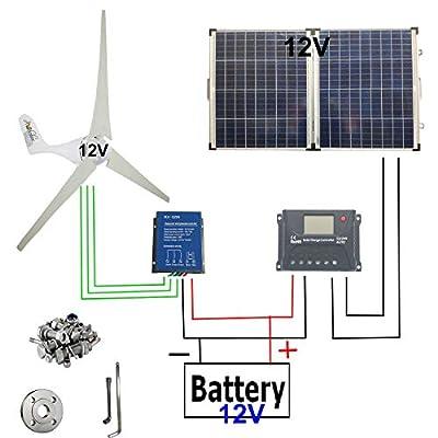 Wind Solar Power 500W : Wind Turbine Generator 12V 400W + 100 Watt 12 Volt Monocrystalline Off Grid Portable Foldable 2Pcs 50W Solar Panel+Wind Turbine Controller+Solar Charge Controller+Accessories