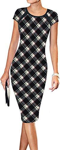 - LunaJany Women's Plaid Sexy Wear to Work Office Career Sheath Midi Dress L Black Plaid