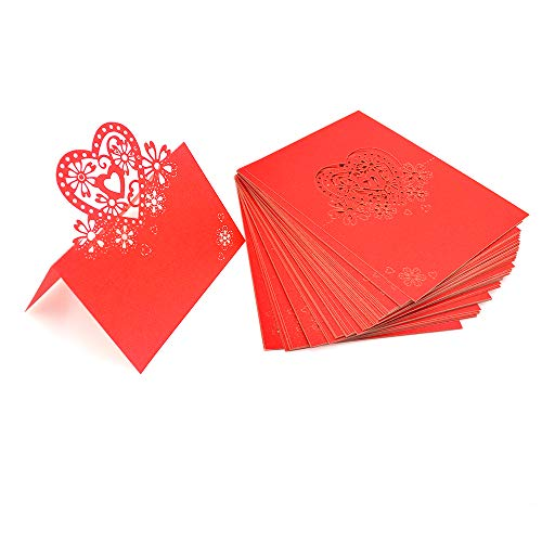 Shaped Favor Card - Kslong 50Pcs Place Cards for Wedding Party Banquets Foldover Romantic Heart-Shaped Hollow Out Seat Card Small Tent Cards Placecards (Red)