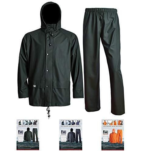 Navis Marine Rain Suit for Men Heavy Duty Workwear Waterproof Jacket with Pants 3 Pieces (Large, Dark Green)