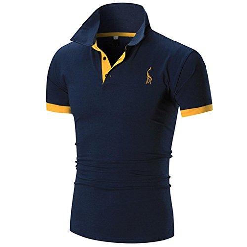 Summer Men Short Sleeve ☀Kstare Men's Classic Solid Soft Stretch Short Sleeves Polo T-Shirt (Navy, ()