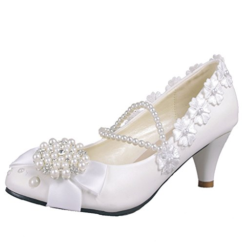 Getmorebeauty Womens Pearls Across The Top Kitten Heel Wedding Shoes VAAi34