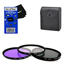 72mm Multi-Coated professional 3 Piece Lens Filter Kit (UV-CPL-FLD) For The Olympus Zoom Super Wide Angle 9-18mm f/4-5.6 ED Zuiko Zoom Lens with HeroFiber Ultra Gentle Cleaning Cloth