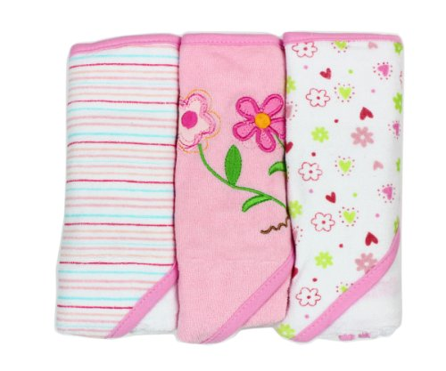Spasilk Soft Terry Hooded Towel Set, Pink Flower, 3-Count ()