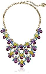 "Betsey Johnson Spring Ahead Multi-Flower and Stone Bib Necklace,16"" + 3"" Extender"