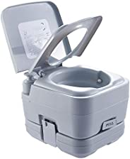 CO-Z 10L Piston-Pump Portable Toilet, Flushable Camping Toilet w Water Tank, Outdoor Travel Potty Toilet for A