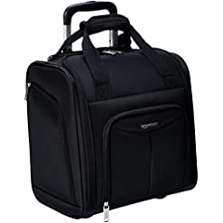 Travel Junkie 418D0I7cwSL._SS247_ Amazon Basics Underseat Carry-On Rolling Travel Luggage Bag with Wheels, 14 Inches, Black