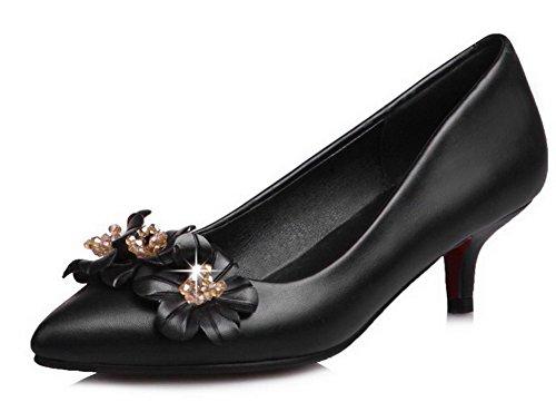 Odomolor Women's Closed-Toe Microfiber Soild Kitten-Heels Pumps-Shoes Black i6gjstIO