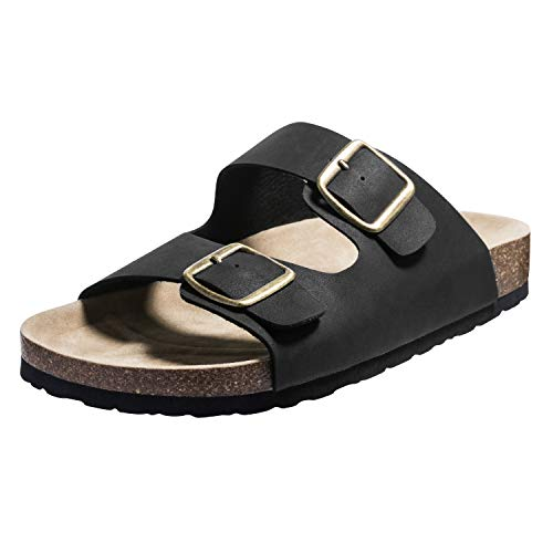 FITORY Mens Sandals Arch Support Slides with Two Adjustable Buckle Straps Black Size13