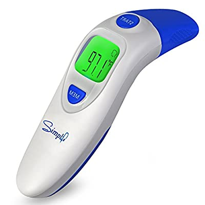 Simplife Dual Mode Forehead and Ear Clinical Digital Thermometer Best to Read Monitor Fever Temperature in 1 Second Clinical Professional Thermometers
