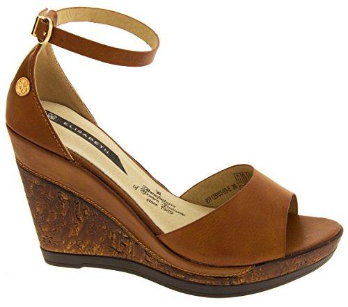 Elisabeth Womens Ankle-strap Wedge Sandals Brown XiR3ri