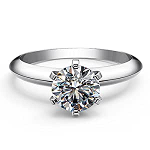 Test Positive ! 1CT Solid 14K White Gold Moissanite Diamond Anniversary Ring for Wife (4)