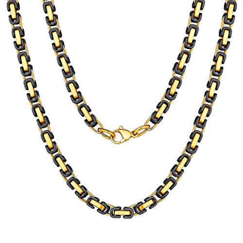 (28 inch Byzantine Box Link Chain Necklace for Men Gold Stainless Steel Long Necklaces Hip Hop Wholesale Jewelry)