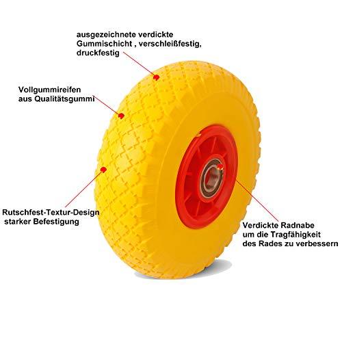 Everbest4u 260 mm carretilla ruedas,3.00-4 neumático de carretilla de mano, rueda goma,rueda repuesto(9Eje : 25 mm),amarillo: Amazon.es: Industria, ...
