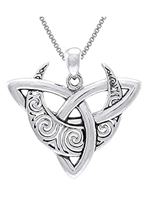 Sterling Silver Celtic Triquetra Moon Goddess Trinity Knot Pendant Necklace