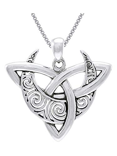 Jewelry Trends Sterling Silver Celtic Triquetra Moon Goddess Trinity Knot Pendant Necklace 18