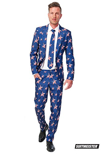 OppoSuits Men's Stars and Stripes Party Costume Suit, Blue/Red/White, 42