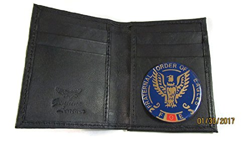 "FOE FRATERNAL ORDER OF EAGLES COMMEMORATIVE CHALLENGE 2"" COIN HOLDER BLACK LEATHER CREDIT CARD WALLET ID"