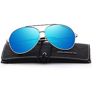 MERRY'S Men/Women Aviation Polarized Driving Sunglasses 100% UV Protection S8008 (Blue, 66)