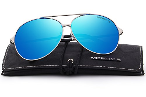 MERRY'S Men/Women Aviation Polarized Driving Sunglasses 100% UV Protection S8008 (Blue, - Glasses Aviation