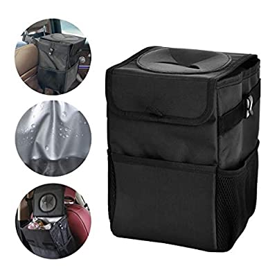 IYOYI Car Trash Container with Lid Leather Portable Car Organizer Foldable Leakproof Lining Storage Bag Backseat Car Accessories: Automotive