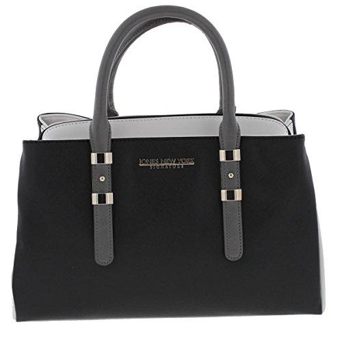 Jones New York Womens Zara Faux Leather Logo Satchel Handbag B/W Medium