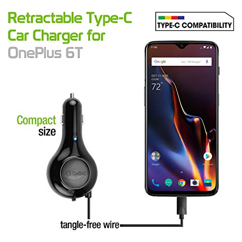 ) Fast and High Speed, USB Type-C Retractable Car Vehicle Charger, Compatible for One Plus3, 3T, 5,5T, 6, 6T & Alcatel 7, REVVL 2 Plus, Idol 4S, Idol 5, Pulse Mix A50 A5 ()