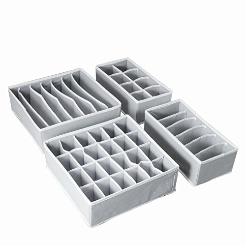 Aotuno Closet Underwear Organizer,Foldable Storage Box Drawer Divider Kit Set of 4 (gray) (And Underwear Socks)