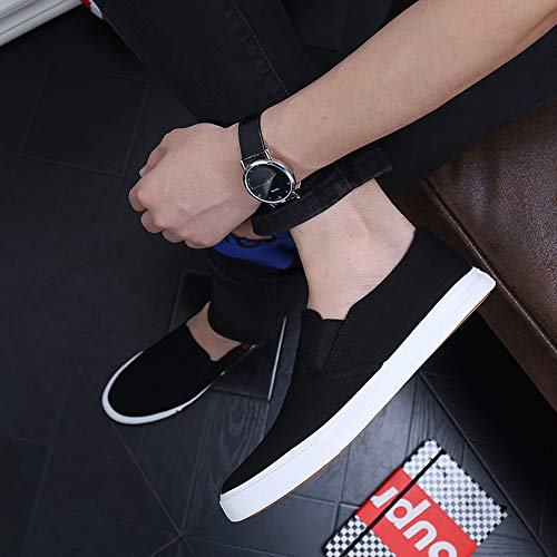 Cut for Slip Canvas Black Flat Shoes Loafer Clean Kakkkchi Unisex Men Loafers Shoes Women Leisure Boat on q1XwA6wg