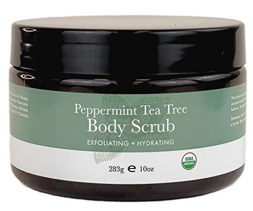 Organic Body Scrub – Peppermint Tea Tree Sugar Scrub Hydrating Exfoliating Body Scrub for Women & Men, Body Exfoliator…